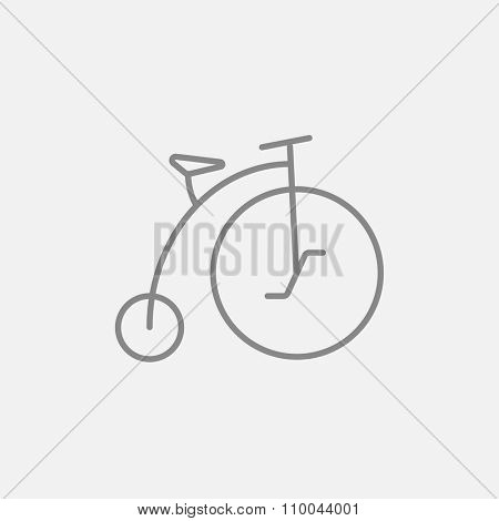 Old bicycle with big wheel line icon for web, mobile and infographics. Vector dark grey icon isolated on light grey background.