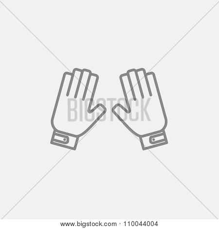 Motorcycle gloves line icon for web, mobile and infographics. Vector dark grey icon isolated on light grey background.