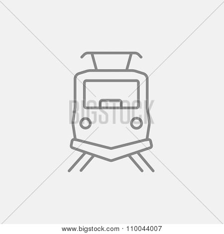 Front view of train line icon for web, mobile and infographics. Vector dark grey icon isolated on light grey background.