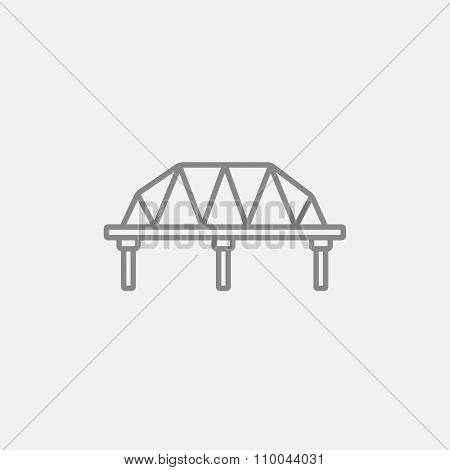 Rail way bridge line icon for web, mobile and infographics. Vector dark grey icon isolated on light grey background.