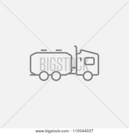 Truck liquid cargo line icon for web, mobile and infographics. Vector dark grey icon isolated on light grey background.