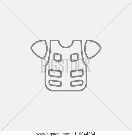 Motorcycle suit line icon for web, mobile and infographics. Vector dark grey icon isolated on light grey background.
