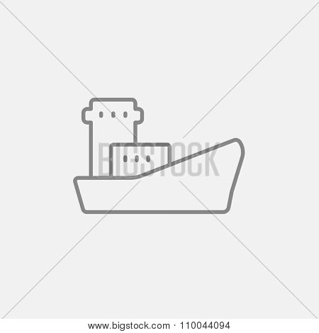 Cargo container ship line icon for web, mobile and infographics. Vector dark grey icon isolated on light grey background.