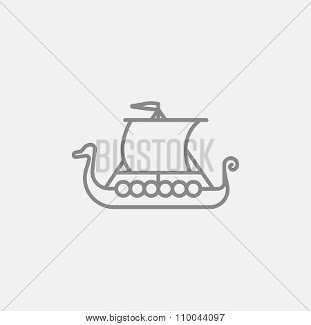 Old ship line icon for web, mobile and infographics. Vector dark grey icon isolated on light grey background.