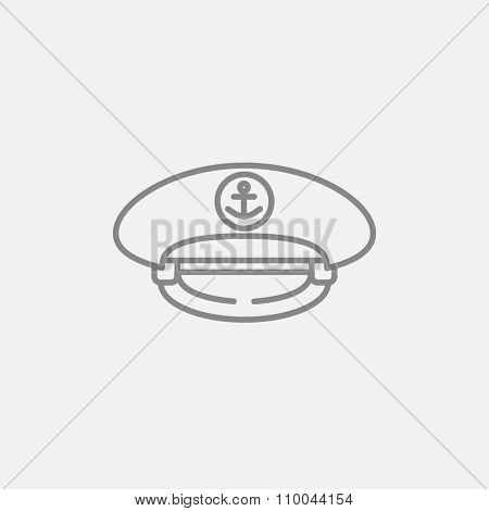 Captain peaked cap line icon for web, mobile and infographics. Vector dark grey icon isolated on light grey background.