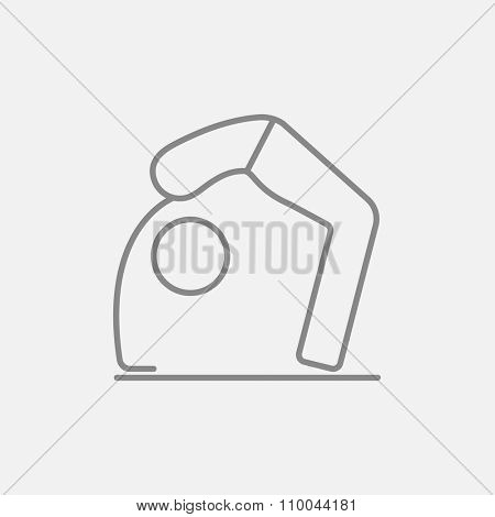 A man practicing yoga chakrasana pose line icon for web, mobile and infographics. Vector dark grey icon isolated on light grey background.