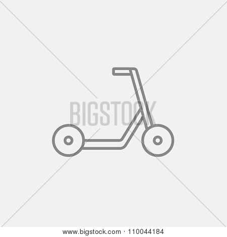 Kick scooter line icon for web, mobile and infographics. Vector dark grey icon isolated on light grey background.