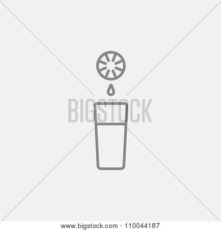 Glass of juice line icon for web, mobile and infographics. Vector dark grey icon isolated on light grey background.