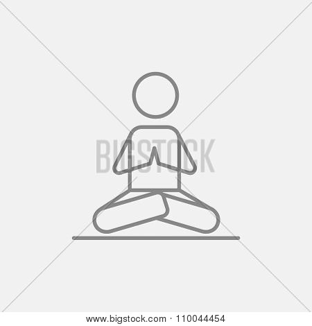 A man meditating in lotus pose line icon for web, mobile and infographics. Vector dark grey icon isolated on light grey background.