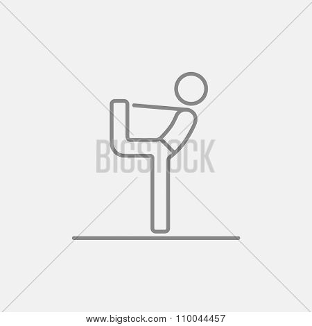 Man in yoga pose nataradzhasana line icon for web, mobile and infographics. Vector dark grey icon isolated on light grey background.