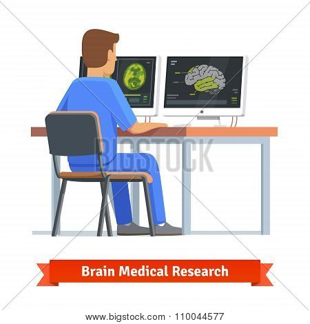 Doctor looking at results of MRI brain scan