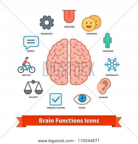 Brain function icons set