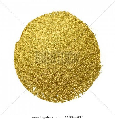 Gold paint circle smear stain texture. Abstract gold glittering textured art illustration.