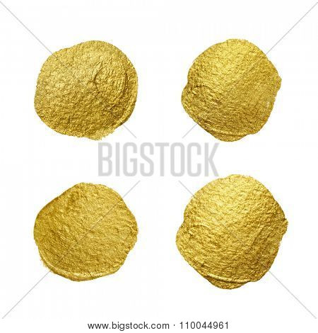 Gold paint circle smear stain texture set. Abstract gold glittering textured art illustration.