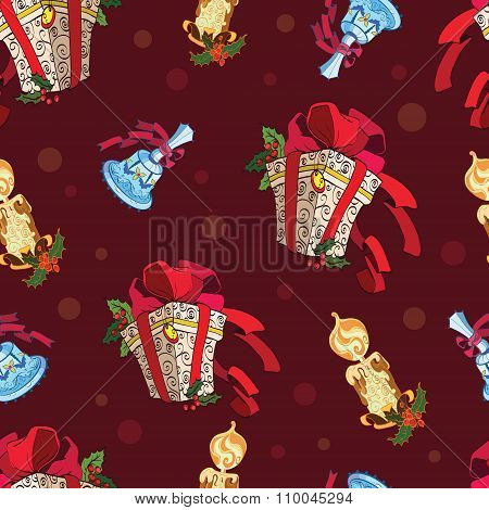 Vector Christmas Presents Bells Candles Dark Red Seamless Pattern. Holly berries gift boxes decorati