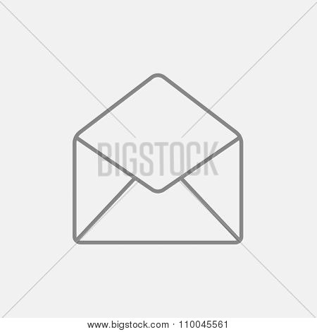 Envelope line icon for web, mobile and infographics. Vector dark grey icon isolated on light grey background.