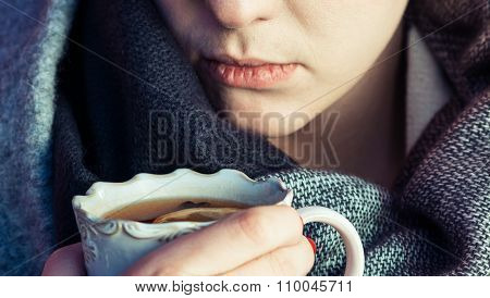 Melancholic Woman With Tea