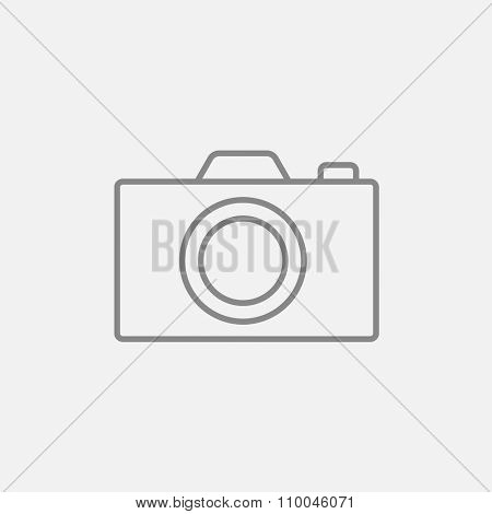 Camera line icon for web, mobile and infographics. Vector dark grey icon isolated on light grey background.