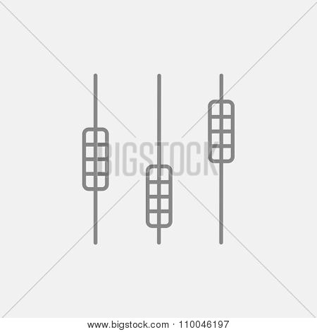 Sound mixer console line icon for web, mobile and infographics. Vector dark grey icon isolated on light grey background.