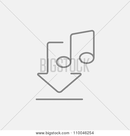 Download music line icon for web, mobile and infographics. Vector dark grey icon isolated on light grey background.