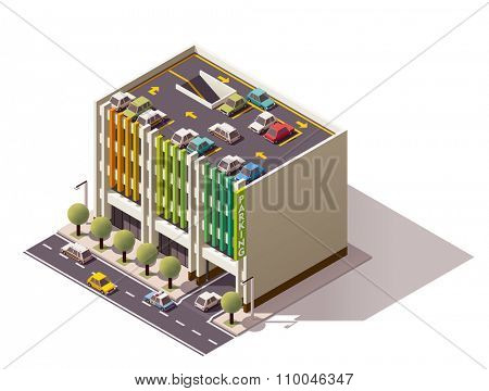 Isometric icon representing multi-storey car park