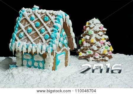 Gingerbread House And Christmas Tree