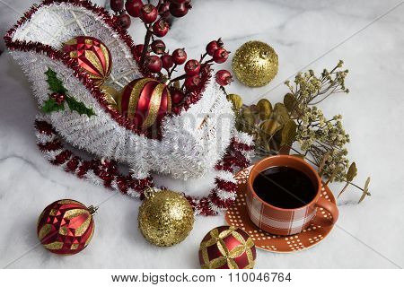Santa's Sleigh Setting For Christmas And Coffee