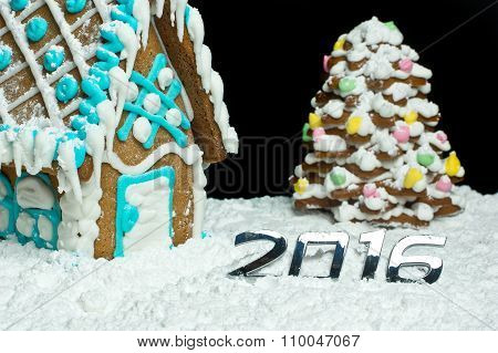 Number 2016 And Gingerbread House