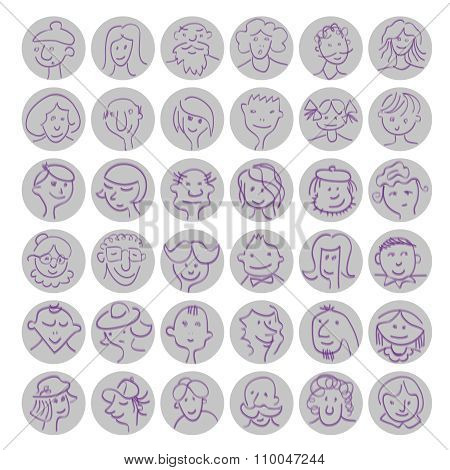 Set Of Hand Drawn Cartoon Avatars People