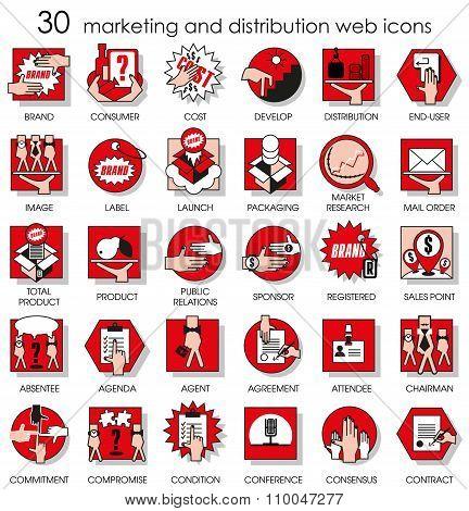 30 Marketing And Distribution Web Icons