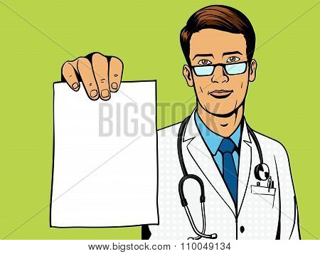 Doctor holding medical prescription pop art vector