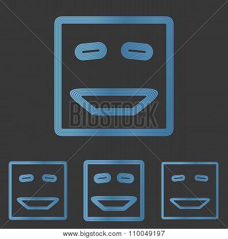 Blue line laugh logo design set