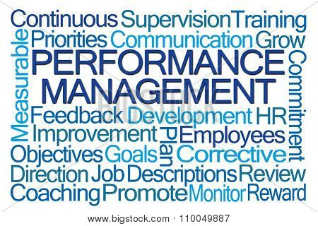 Performance Management Word Cloud on White Background