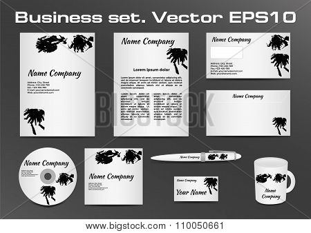 Business set, black and white inkblot logotype design for corporate identity of your company