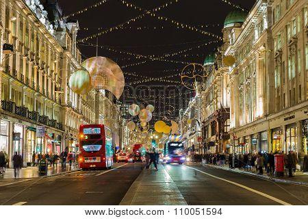 Regent Street During Christmas.