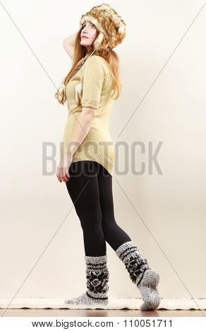 Woman Wearing Warm Clothes Fur Cap Socks