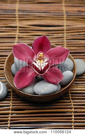 Red orchid with gray stones in wooden bowl on mat