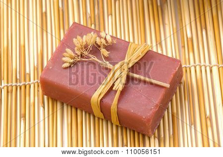 Soap on bamboo mat