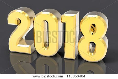 3D Isolated Gold 2018 Year