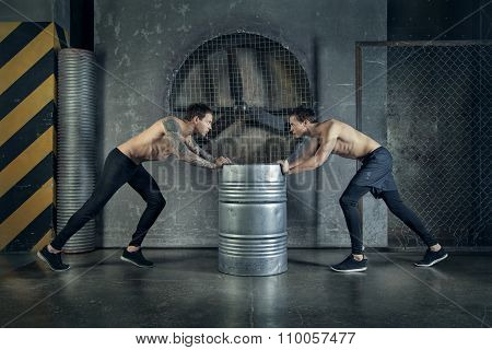 Twins men are working out