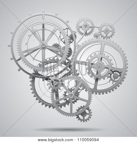Gear wheels of clockwork in black and white on light surface. Techno background. Vector Illustration