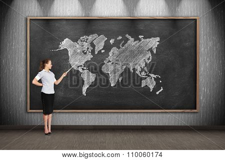 Teacher With Pointer Point To Drawing World Map