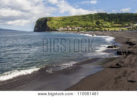 Landscape Of The Coast Of The Atlantic Ocean With Waves Sunny Day, In The Azores