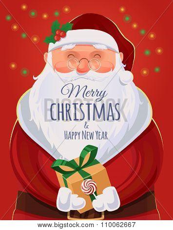 Christmas Greeting Card, Poster. Santa Claus Portrait. Funny Santa. Vector Illustration