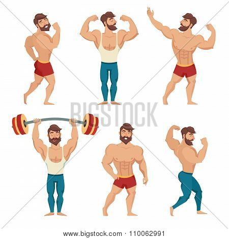 Set of muscular bearded mans vector illustration.