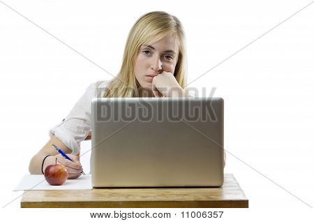 Teenage Girl With Laptop Computer