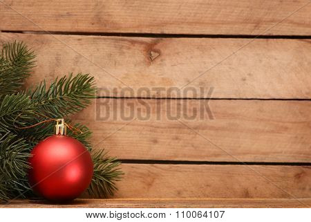 Christmas decoration on old grunge wooden board.