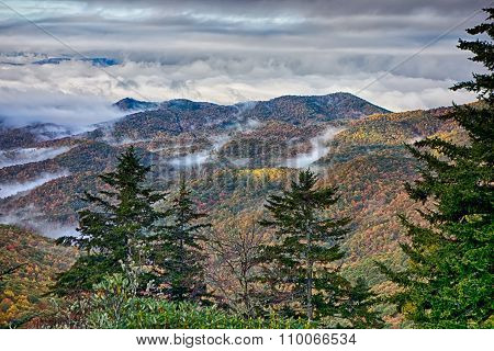 Scenic Blue Ridge Parkway Appalachians Smoky Mountains Autumn Landscape