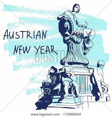 New Year Vector Illustration. World Famous Landmarck Series: Austria, Vienna, Dunnerbrunnen Fountain
