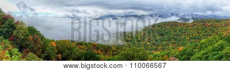 Panorama Of Stretch Of Blue Ridge Parkway Near Asheville In Western North Carolina